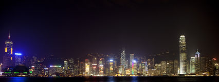 Orizzonte illuminato di Hong Kong Fotografie Stock Libere da Diritti