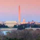 Orizzonte Lincoln Memorial, Washington Monument del Washington DC e Immagine Stock