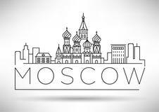 Orizzonte lineare della città minima di Mosca con progettazione tipografica illustrazione vettoriale