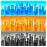 Orizzonte moderno della città colorato Fotografia Stock Libera da Diritti