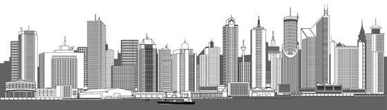 Orizzonte molto dettagliato della città illustrazione vettoriale