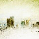 Orizzonte nebbioso strutturato della città Fotografie Stock Libere da Diritti