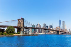 Orizzonte New York di Manhattan e del ponte di Brooklyn immagini stock