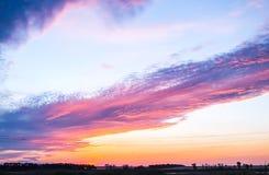 Orizzonte nuvoloso al tramonto Fotografia Stock Libera da Diritti