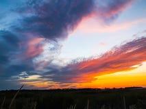 Orizzonte nuvoloso al tramonto Immagine Stock Libera da Diritti