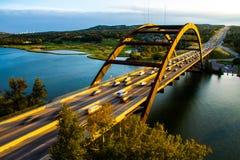 Orizzonte perfetto di Austin di tramonto del ponte di PennyBacker Fotografia Stock