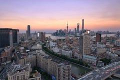 Orizzonte porpora, Shanghai Fotografie Stock Libere da Diritti