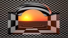 Orizzonte a quadretti della finestra Fotografia Stock