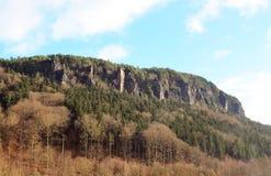 Orizzonte roccioso con la bella foresta di autunno Immagini Stock