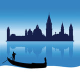 Orizzonte romantico della siluetta di Venezia Fotografia Stock
