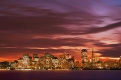 Orizzonte Sunse del San Franciso immagini stock
