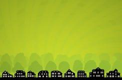 Orizzonte verde della città Fotografia Stock Libera da Diritti
