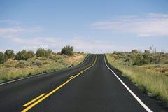 Orizzonte vuoto lungo della strada principale del deserto Immagini Stock Libere da Diritti