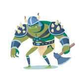 Ork. Cartoon illustration caracter. Funny colorful picture in vector, angry goblin for game, movie and print advertising Royalty Free Stock Photos