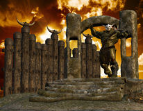 Ork on a portal. 3D rendering of an orc with a stone portal Stock Photos