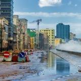 Orkan i staden av Havana Arkivbild