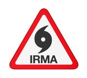 Orkan Irma Warning Sign Isolated Arkivfoto