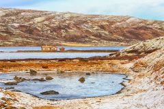 Lake Orkel, Norway. Orkel /Norway 10/20/2018 : First snow in October at the lake Orkel located in the Oppdal area, Norway stock image