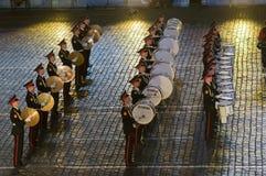 Orkest van de Militaire de Muziekuniversiteit van Moskou Suvorov Stock Foto's