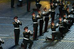 Orkest van de Militaire de Muziekuniversiteit van Moskou Suvorov Royalty-vrije Stock Afbeelding