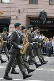 Orkest van Oostenrijk op parade van deelnemers van internationaal festival van militaire orkesten Stock Afbeeldingen