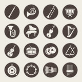 Orkesteren instrumenterar symboler stock illustrationer