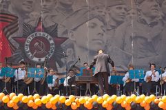 Orkesterlekar under Victory Day beröm Royaltyfri Fotografi