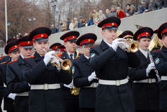 Orkestermusiker - trumpetare Arkivbilder