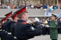 Orkestermusiker - trumpetare Arkivfoto
