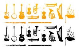 Orkestermusikinstrument stock illustrationer