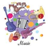 Orkesthoorn, tuba, gitaar, trommels, tuba, harmonika op gekleurde vlekken Royalty-vrije Stock Afbeelding