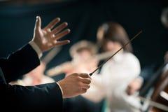 Orkestleider op stadium royalty-vrije stock foto