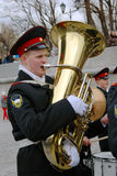 Orkestmusici - trompetters Royalty-vrije Stock Foto's