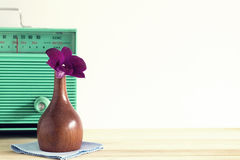 Orkidé och radio Royaltyfria Foton
