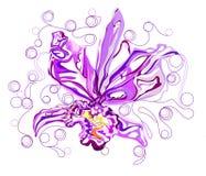 Orkidéblomma i diagrammet, abstrakt stil Arkivfoto