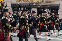 Orkiestra Szkocja na paradzie uczestnicy międzynarodowy festiwal militarne orkiestry Obraz Stock