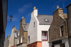 Orkney gables. Gable ends along Stromness main street in Orkney stock photography
