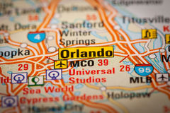 Orlando City on a Road Map Stock Photography