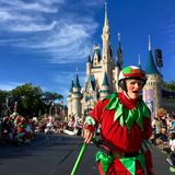 Orlando Disney world Christmas holidays parade. Elf riding scooter at Disney World magic kingdom Christmas Holiday parade,Orlando,Florida 2015 Royalty Free Stock Images