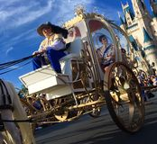 Orlando Disney world Christmas holidays parade. Prince Charming inside pumpkin carriage at Disney World magic kingdom Christmas Holiday parade,Orlando,Florida Royalty Free Stock Photography