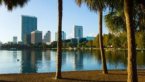 Orlando downtown, the Eola lake and park stock video