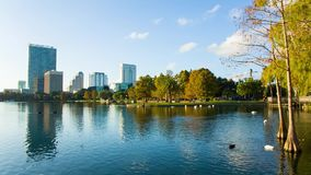 Orlando downtown, the Eola lake and park stock video footage