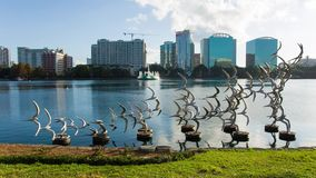 Orlando downtown, the Eola lake and park stock footage