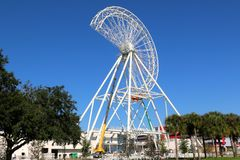 The Orlando Eye Ferris wheel under construction in Orlando, Florida Royalty Free Stock Photo