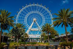 Orlando Eye ride experience.The Wheel at ICON Park Orlando is a 400-foot-tall giant observation wheel in International Drive area royalty free stock image