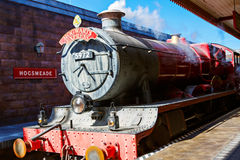 ORLANDO,FL-APRIL 19 2016: Hogsmead and Hogwarts Express train, home to Harry Potter and the Forbidden Journey attraction royalty free stock photo