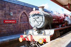 ORLANDO,FL-APRIL 19 2016: Hogsmead and Hogwarts Express train, home to Harry Potter and the Forbidden Journey attraction royalty free stock photography
