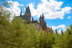 ORLANDO,FL-APRIL 19 2016: Hogwarts Castle, home to Harry Potter and the Forbidden Journey attraction Orlando USA. ORLANDO,FL-APRIL 19 2016: Hogwarts Castle stock images