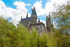 ORLANDO,FL-APRIL 19 2016: Hogwarts Castle, home to Harry Potter and the Forbidden Journey attraction Orlando USA. stock photo