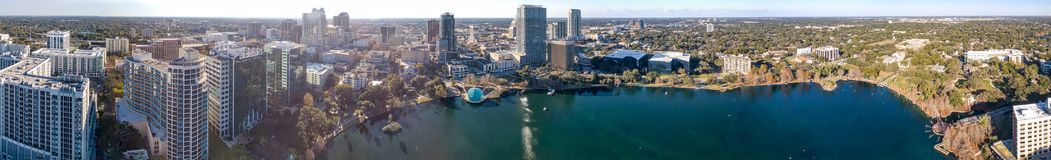 ORLANDO, FL - FEBRUARY 2016: Panoramic aerial view of city skyline at sunset. Orlando is a famous destination in Florida royalty free stock image